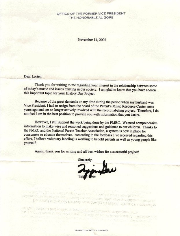 Letter from Tipper Gore